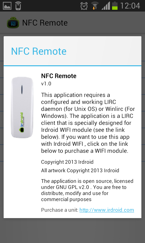 Irdroid NFC Remote   Irdroid™ – Infrared modules for Android, Linux